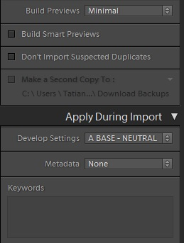 Lightroom-import-dialog